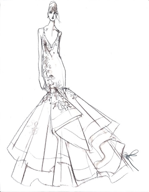 Drawn wedding dress dress style #13