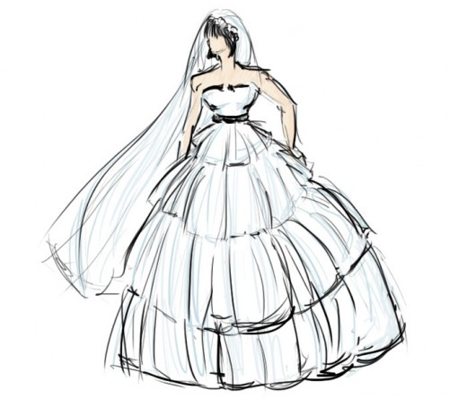 Drawn wedding dress dress style #9