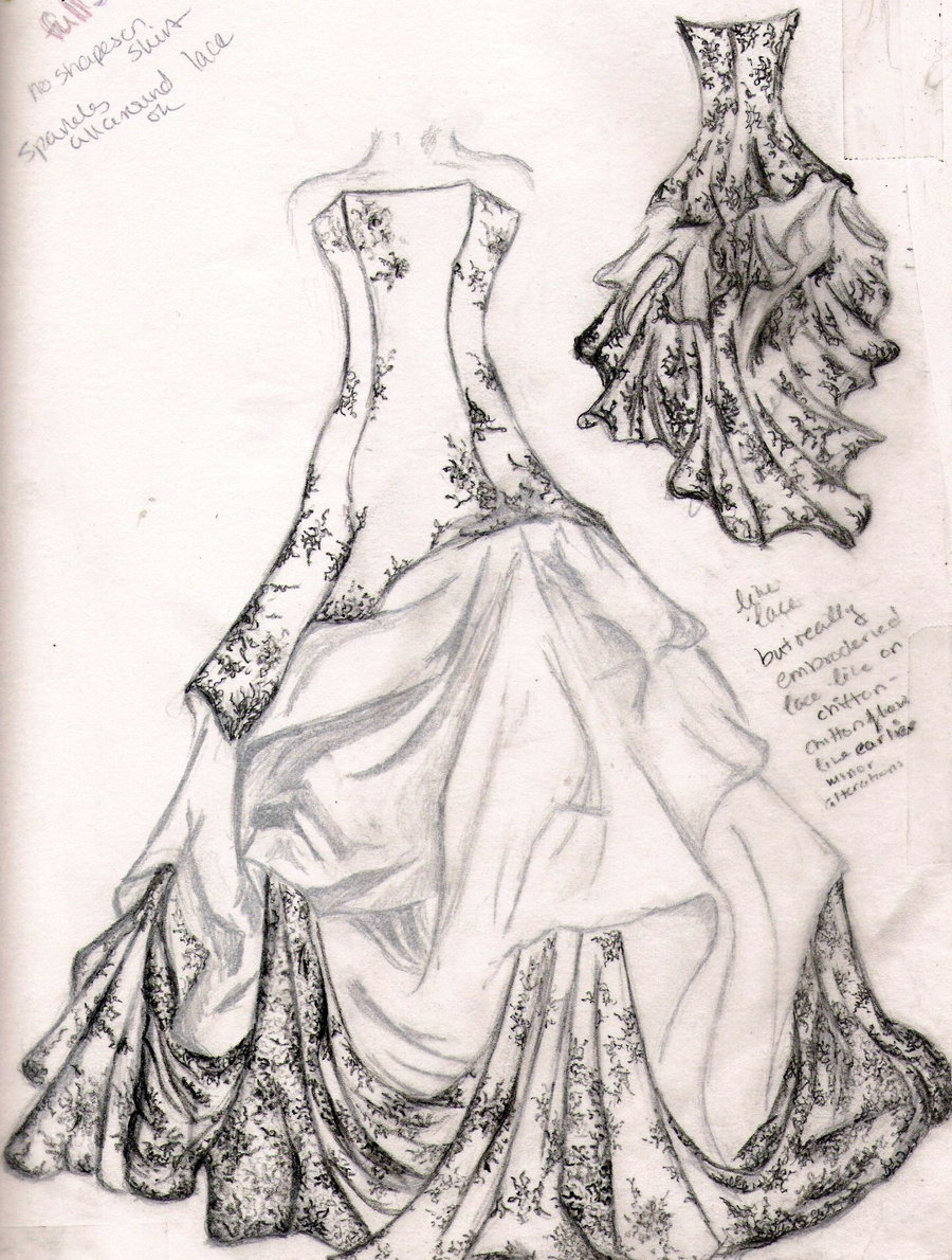 Drawn wedding dress dress style Fashion dress Image for sketches