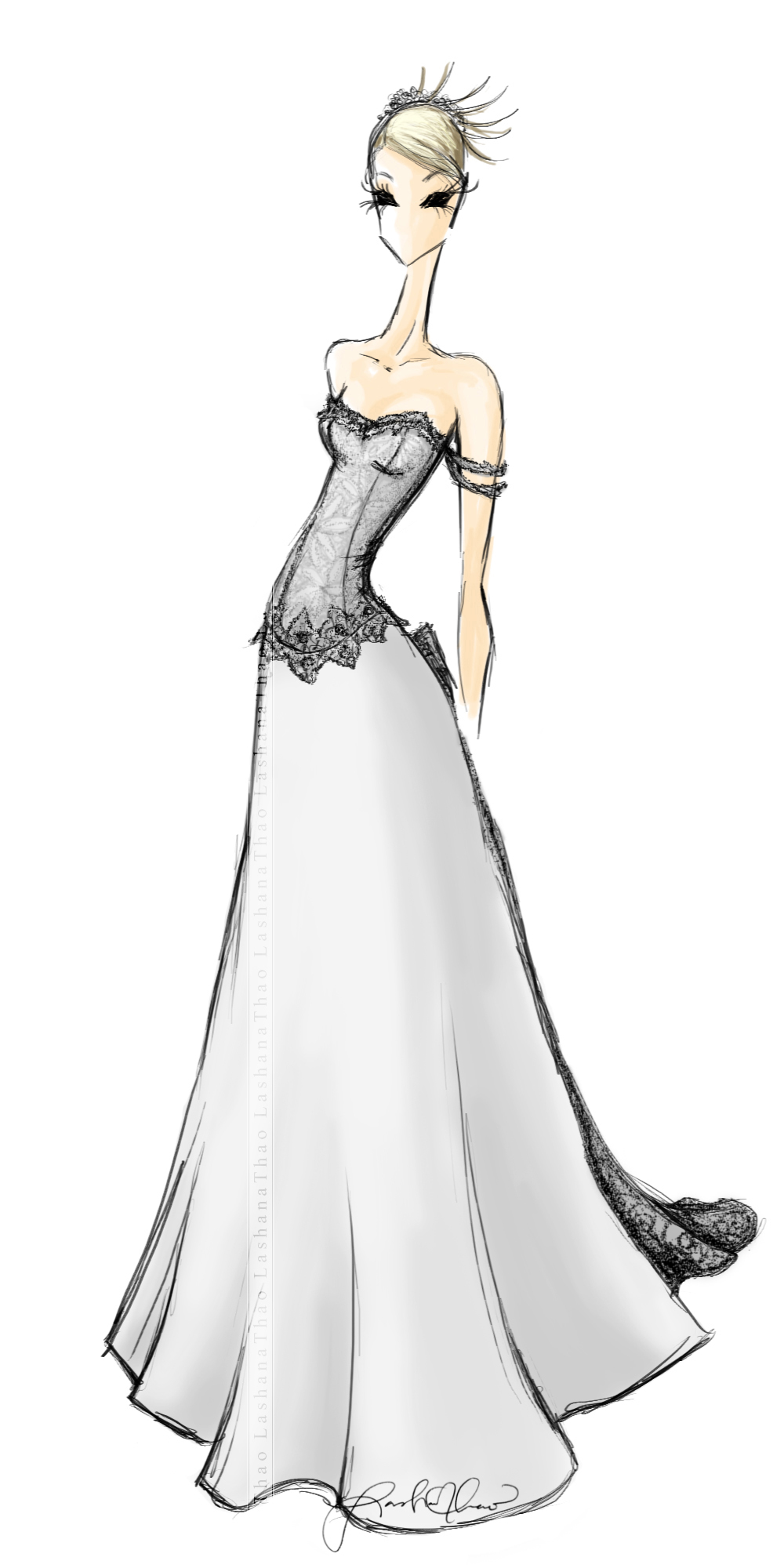 Drawn wedding dress fancy dress Etsy 00  Bridal dress