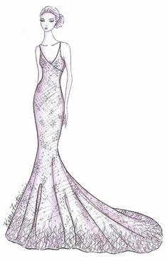Drawn wedding dress fancy dress Sketch Faetanini Alissa Wedding Pinterest