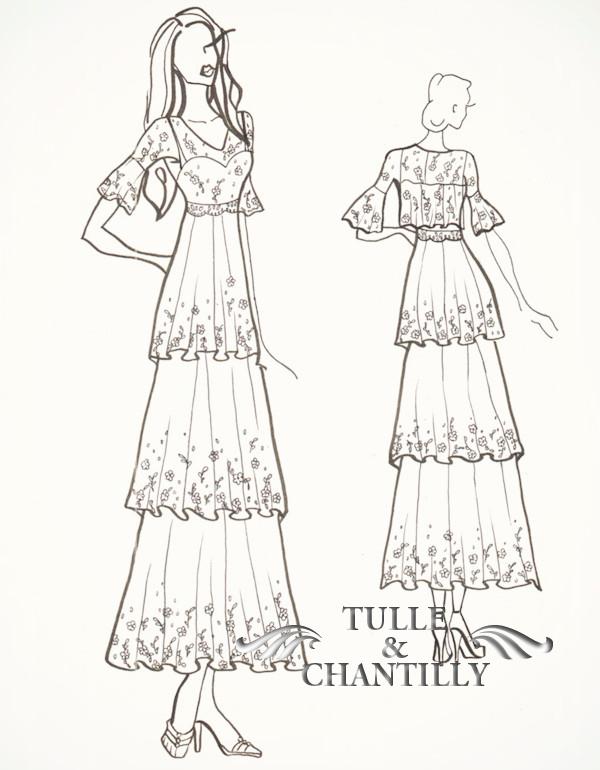Drawn wedding dress fancy dress Sketch Wedding Dresses Inspired Blog
