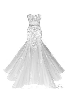 Drawn wedding dress party dress And fabric (Single gowns Custom