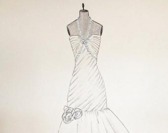 Drawn wedding dress party dress Dress Wedding bouquet Wedding Custom
