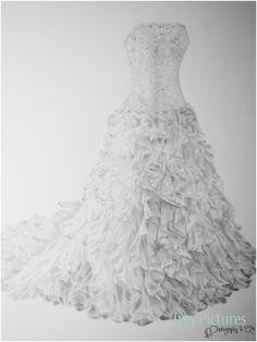 Drawn wedding dress party dress Illustration Pictures Missy's Wedding Sketch
