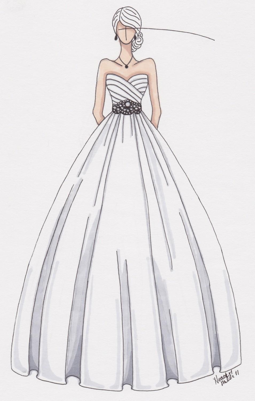 Drawn wedding dress party dress Dress Custom wedding illustration (wedding