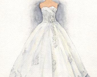 Drawn wedding dress party dress Drawing Illustration Custom Wedding Painting
