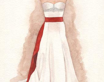 Drawn wedding dress party dress Sketch Illustration Custom Wedding Painting