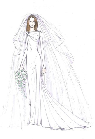 Drawn wedding dress queen Sketches Dress Middleton's Sketch on