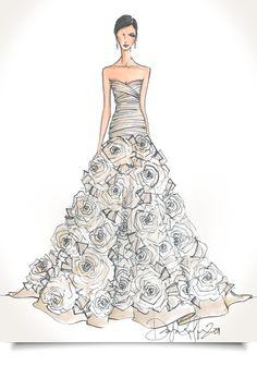 Drawn wedding dress really Form) Custom Illustration/sketch this (wedding