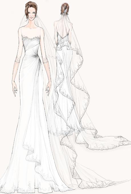 Drawn wedding dress simple #13