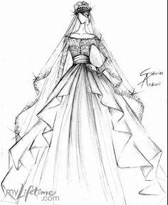 Drawn wedding dress simple #15