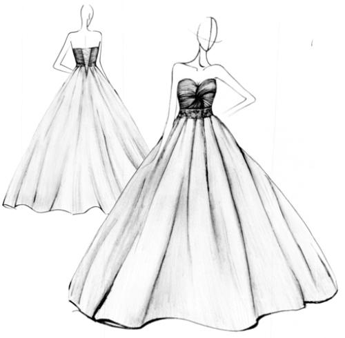Drawn wedding dress simple #10