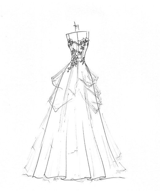 Drawn wedding dress vintage dress Dress Pinterest dress images Wedding