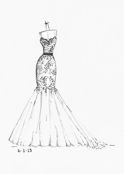 Drawn wedding dress dress style #2