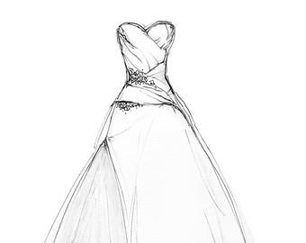 Drawn wedding dress unique 8x10 Dress Illustration Dress Portrait