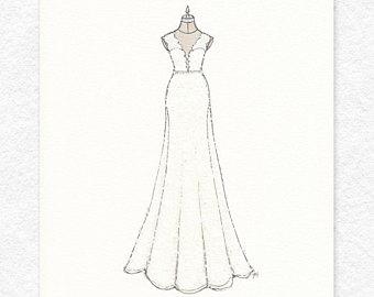 Drawn wedding dress unique Illustration Black Hand Custom Dress