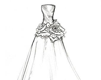 Drawn wedding dress unique Dress Illustration Designed 8x10 Portrait