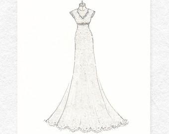 Drawn wedding dress unique Dress Illustration Portrait 8x10 •