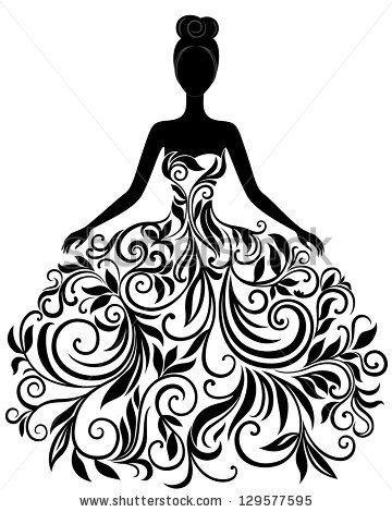 Drawn wedding dress vector #2
