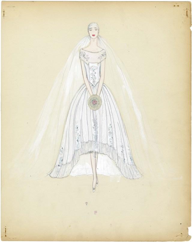 Drawn wedding dress vintage dress Deco 1920s Gown Gowns Wedding