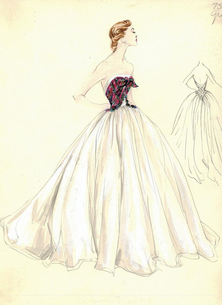 Drawn wedding dress vintage dress Fashion dior Bergdorf DressesFashion the