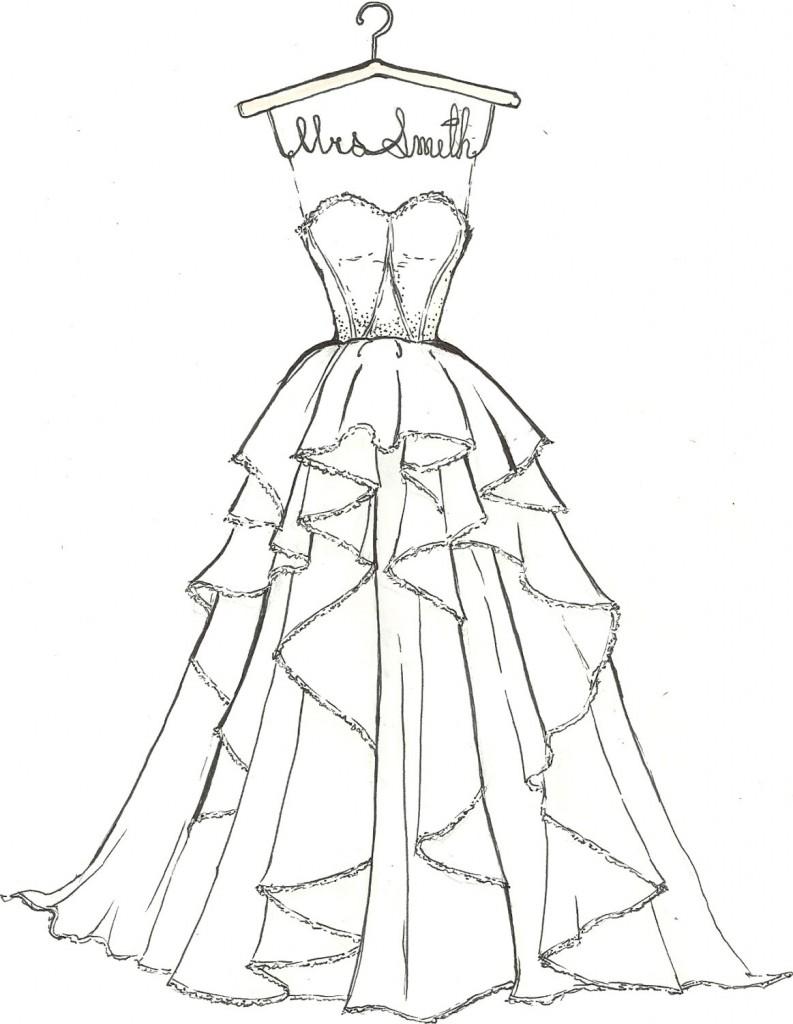 Drawn wedding dress vintage dress Wedding kids: coloring wedding Wedding