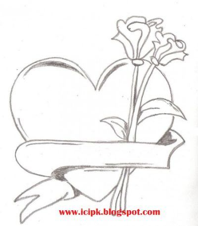 Drawn rose love heart Easy easy pencil by in