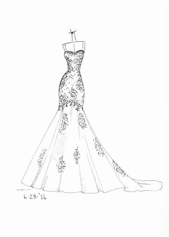 Drawn wedding dress simple #6