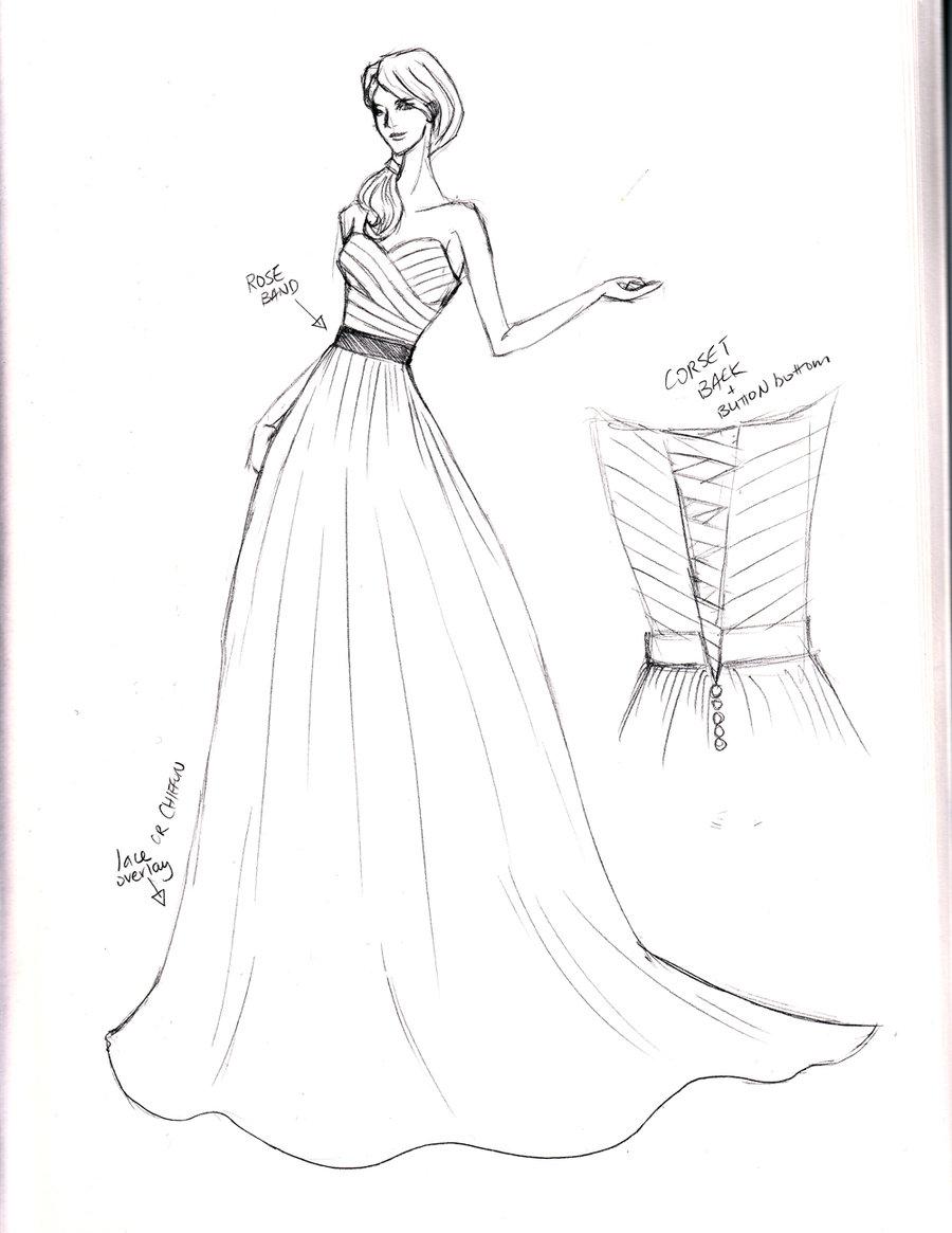 Drawn wedding dress really DeviantArt sketch by wedding shushuwafflez