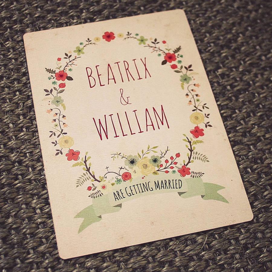 Drawn cards floral wedding #1
