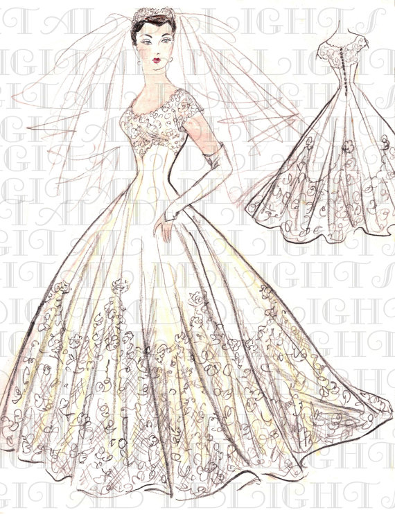 Drawn wedding dress vintage bride BRIDAL Design BRIDAL Bride EXCLUSIVE