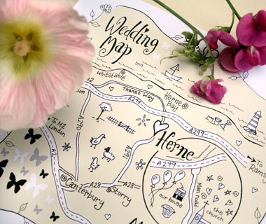Drawn wedding Bespoke and map maps event