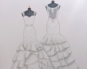 Drawn wedding dress unique Watercolor Custom paper Painting Original