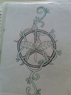 Drawn pot plant peace sign Leaf Weed To Draw Pot