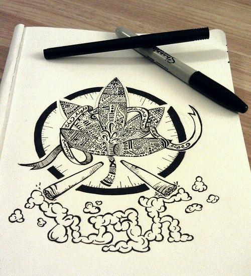 Drawn cannabis badass #1