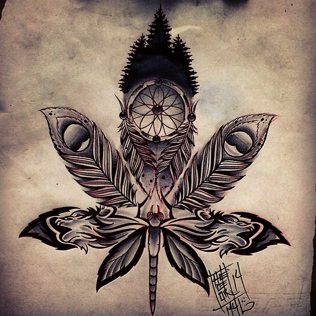 Drawn pot plant dreamcatcher With the a wolf with