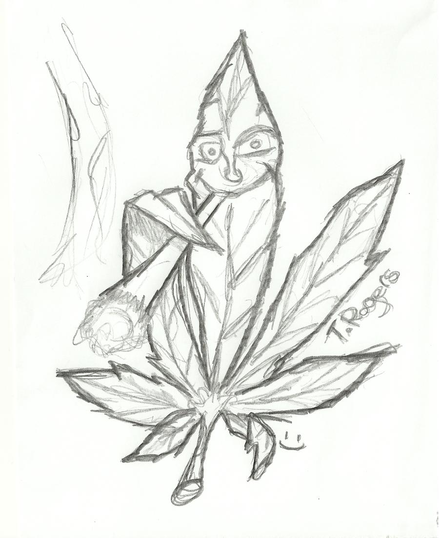 Drawn cannabis badass #4