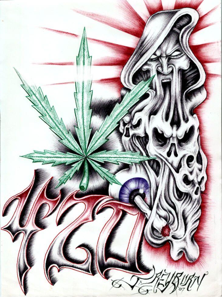 Drawn cannabis badass #6
