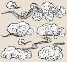 Drawn clouds illustrated Google O stock drawing O