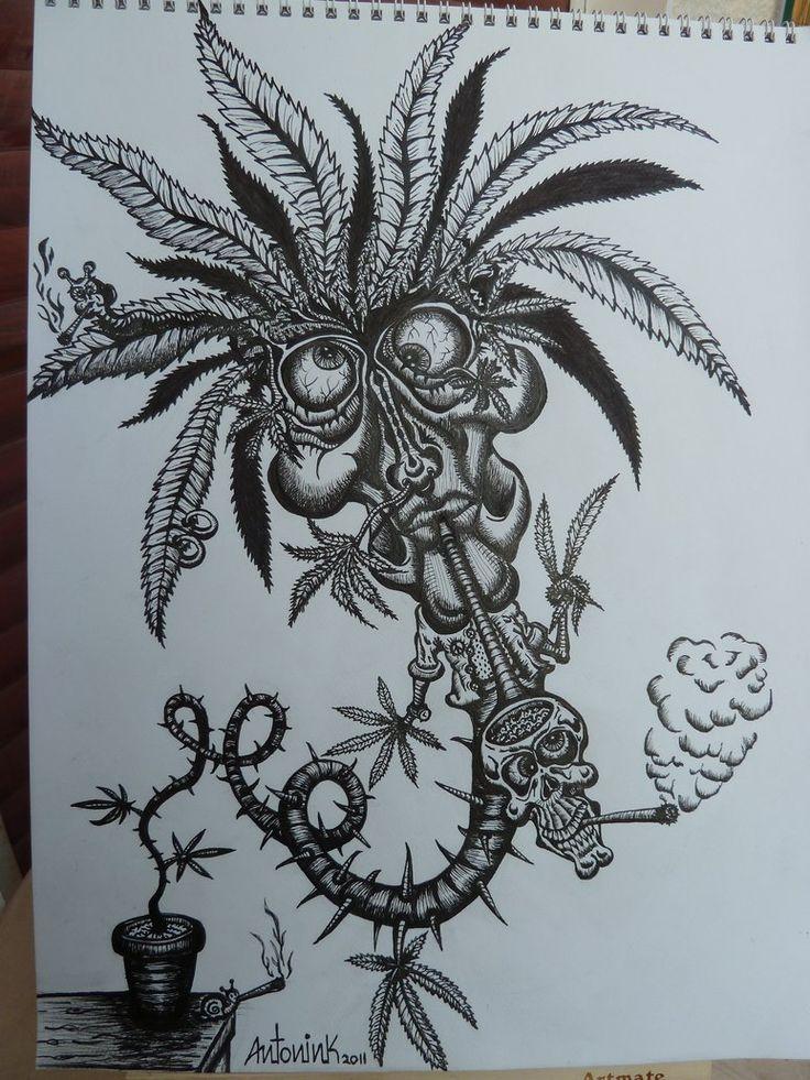 Drawn cannabis badass #2