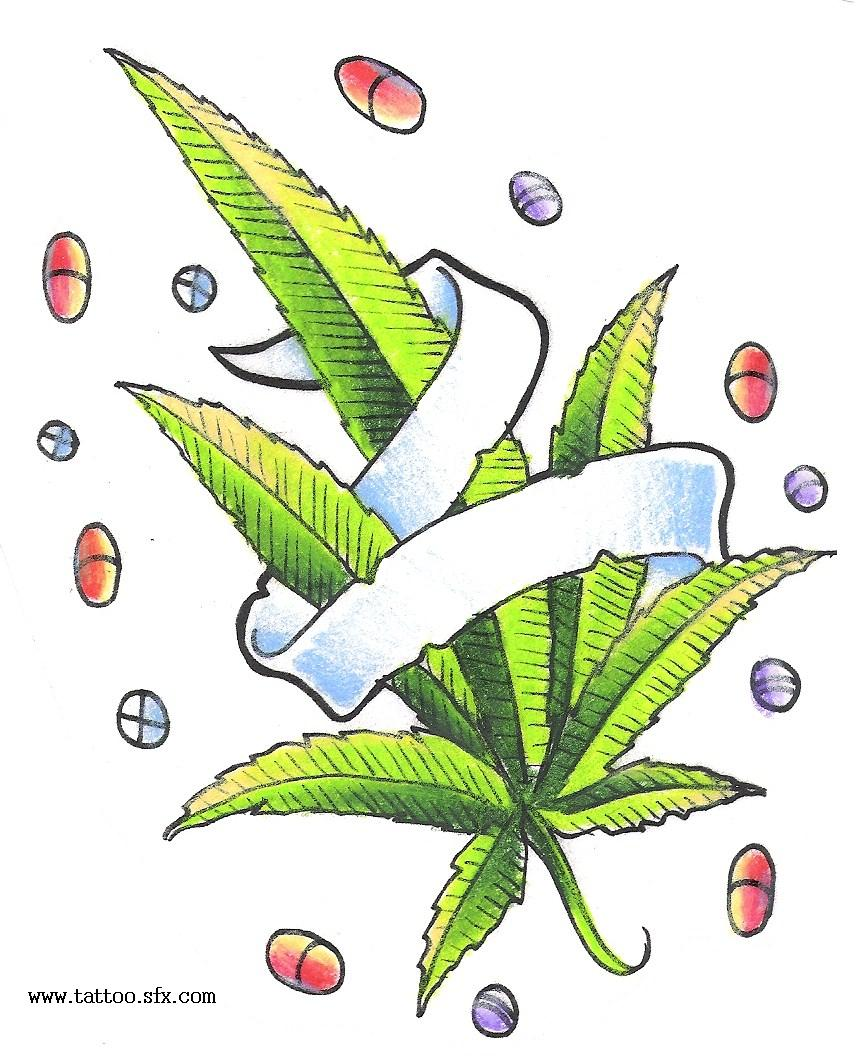 Drawn weed cute Design Tattoo With Design Pills