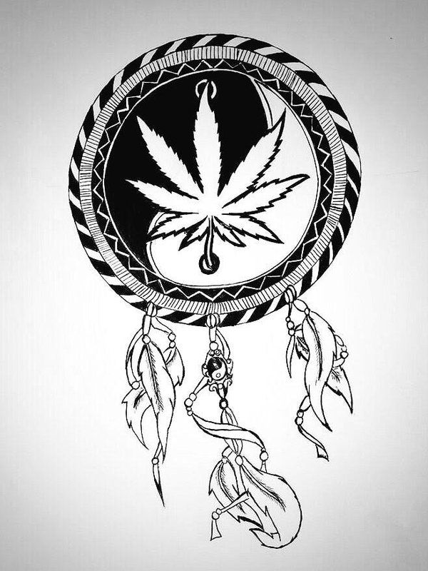Drawn pot plant dreamcatcher Designs about Weed on and