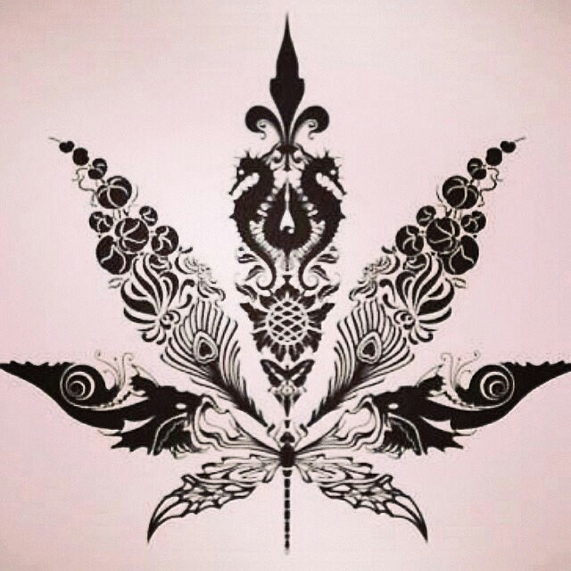 Drawn pot plant high life Lyf life Tattoo life Leaf