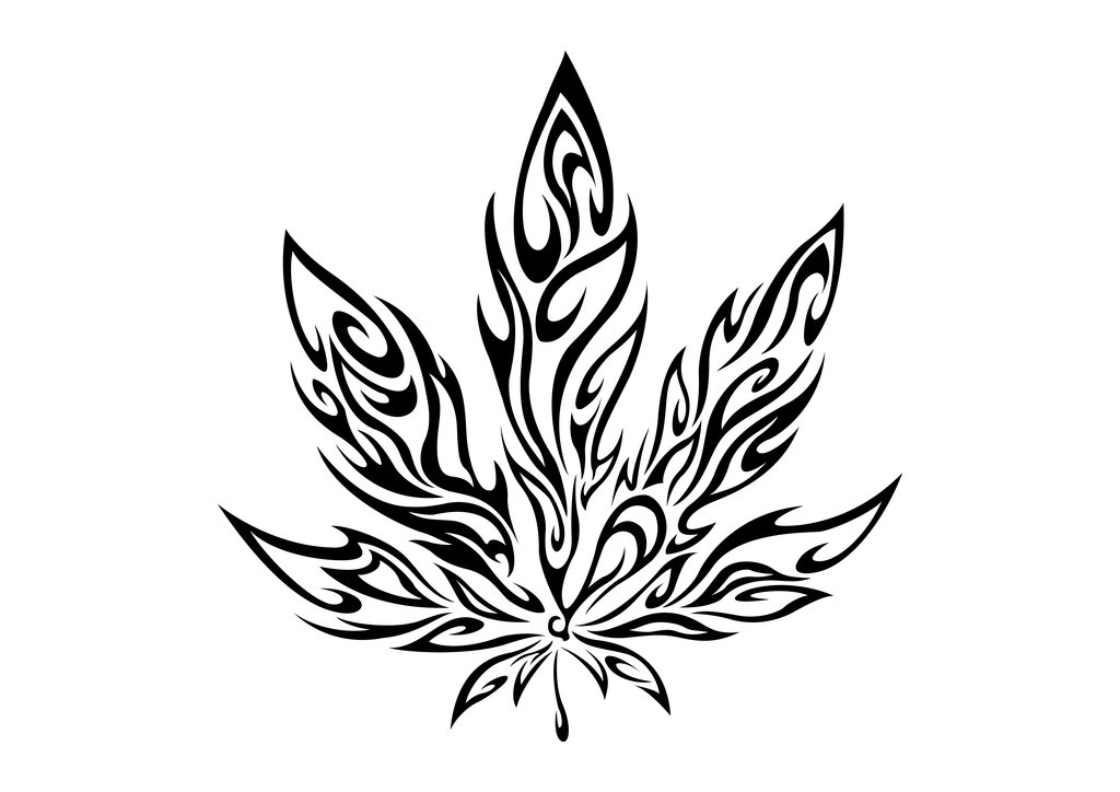 Drawn weed leaf outline To Www leaf Showing how