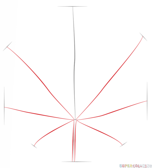 Drawn weed leaf outline Step potleaf 2 draw to