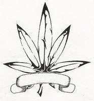 Drawn weed leaf outline Tattoobite Pot Leaf com Tribal