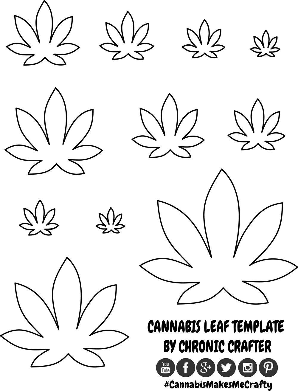 Drawn pot plant leaf template Template Cannabis — leaf Leaf