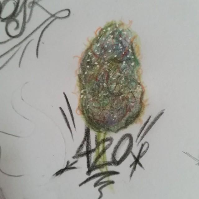 Drawn weed nug On sketch #sketches #420 #nug