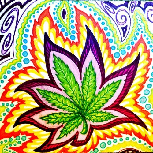 Drawn pot plant trippy Art Weed on trippy; dope;